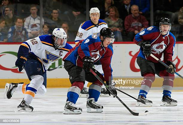 Matt Duchene of the Colorado Avalanche controls the puck against David Backes of the St Louis Blues at Pepsi Center on December 13 2014 in Denver...
