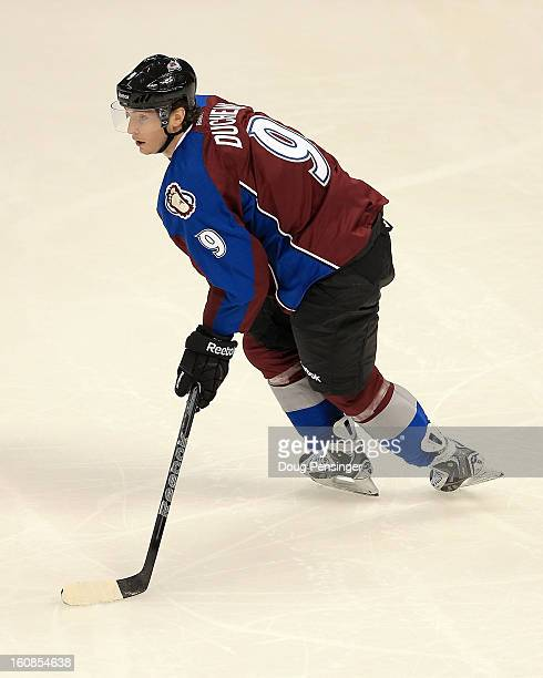 Matt Duchene of the Colorado Avalanche controls the puck against the Anaheim Ducks at the Pepsi Center on February 6 2013 in Denver Colorado The...