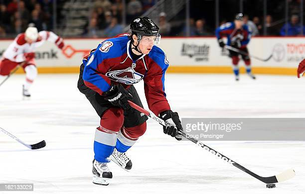 Matt Duchene of the Colorado Avalanche controls the puck against the Phoenix Coyotes at the Pepsi Center on February 11 2013 in Denver Colorado The...