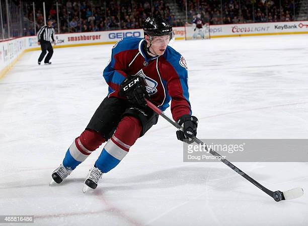 Matt Duchene of the Colorado Avalanche controls the puck against the Los Angeles Kings at Pepsi Center on March 10 2015 in Denver Colorado The Kings...