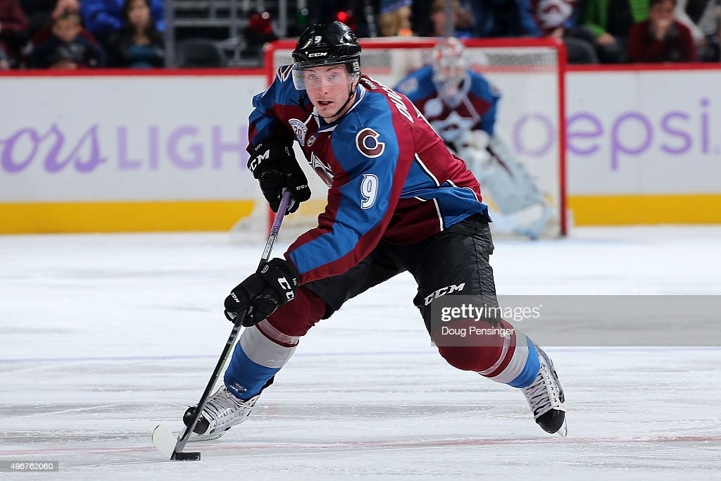 Matt Duchene #9 of the Colorado Avalanche controls the puck against the Calgary Flames at Pepsi Center on November 3, 2015 in Denver, Colorado. The Avalanche defeated the Flames 6-3.