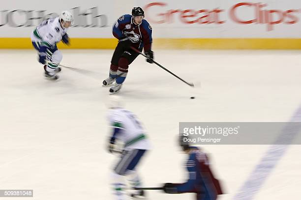 Matt Duchene of the Colorado Avalanche controls the puck against the Vancouver Canucks at Pepsi Center on February 9 2016 in Denver Colorado The...