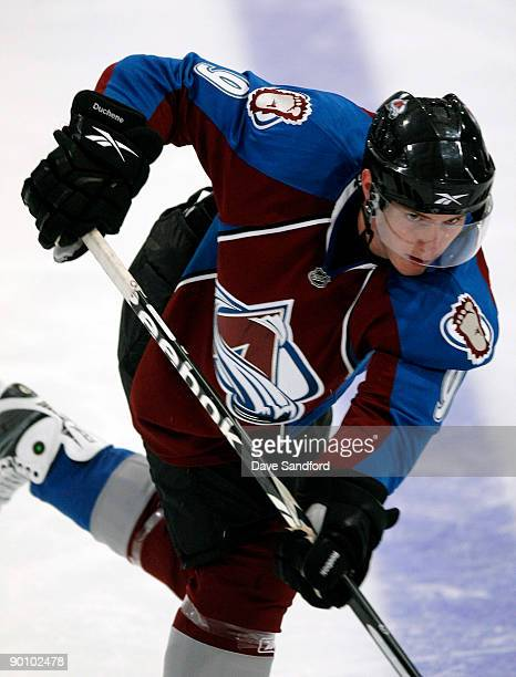 Matt Duchene of the Colorado Avalanche follows through on a shot during the Upper Deck NHL Rookie Debut at the Hershey Centre August 26 2009 in...