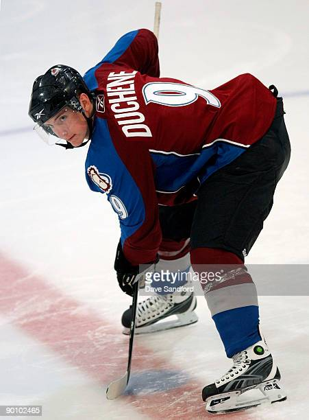 Matt Duchene of the Colorado Avalanche gets set for a faceoff during the Upper Deck NHL Rookie Debut at the Hershey Centre August 26 2009 in...