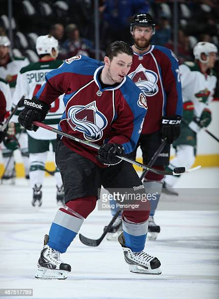 Matt Duchene of the Colorado Avalanche handles the puck during warm ups prior to facing the Minnesota Wild in Game Seven of the First Round of the...