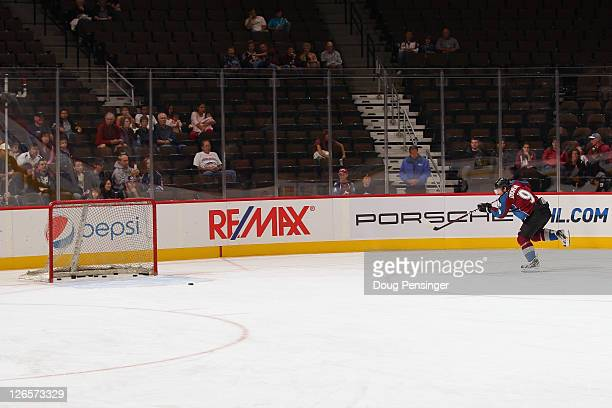 Matt Duchene of the Colorado Avalanche is the last one to leave the ice as he warms up prior to facing the Dallas Stars during their preseason game...