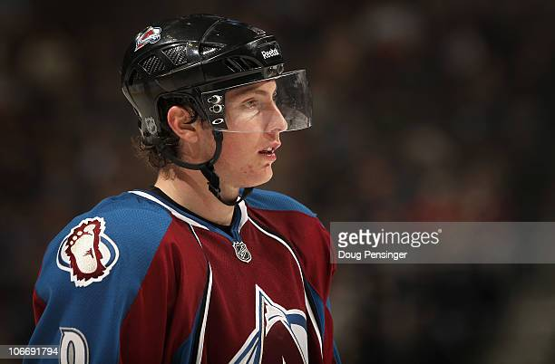 Matt Duchene of the Colorado Avalanche looks on during a break in the action the Calgary Flames at the Pepsi Center on November 9 2010 in Denver...