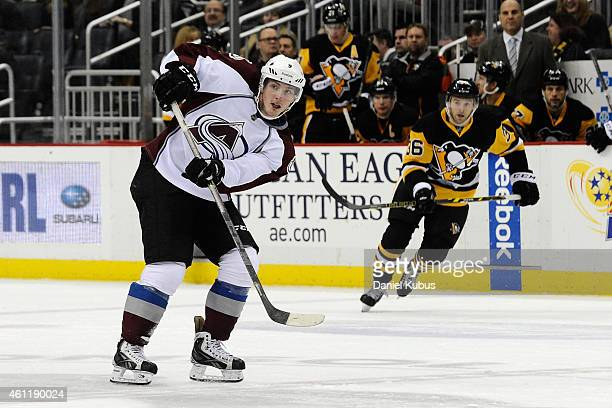 Matt Duchene of the Colorado Avalanche passes the puck against the Pittsburgh Penguins at Consol Energy Center on December 18 2014 in Pittsburgh...