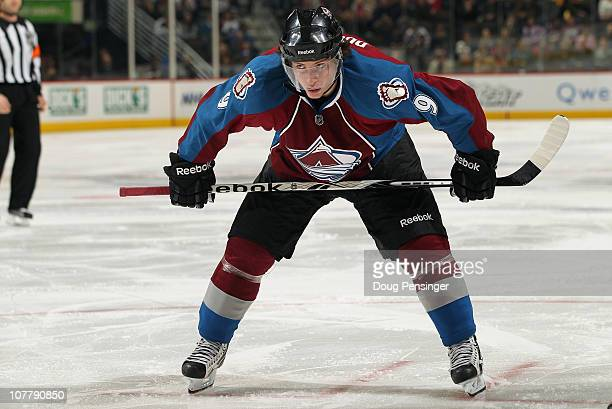 Matt Duchene of the Colorado Avalanche prepares for a face off against the Minnesota Wild at the Pepsi Center on December 23 2010 in Denver Colorado...