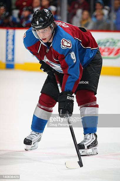 Matt Duchene of the Colorado Avalanche prepares for a face off against the Pittsburgh Penguins at the Pepsi Center on March 3 2012 in Denver Colorado...