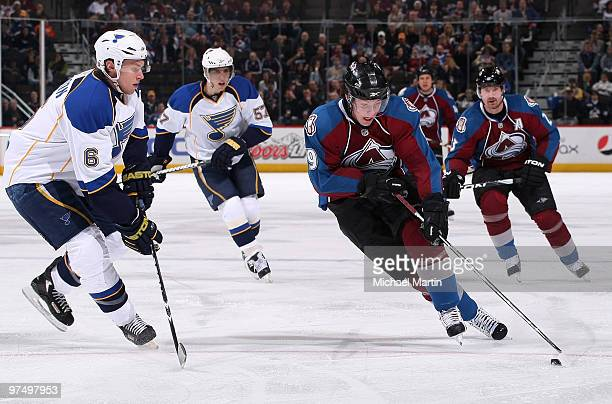 Matt Duchene of the Colorado Avalanche skates against Erik Johnson of the St Louis Blues at the Pepsi Center on March 6 2010 in Denver Colorado
