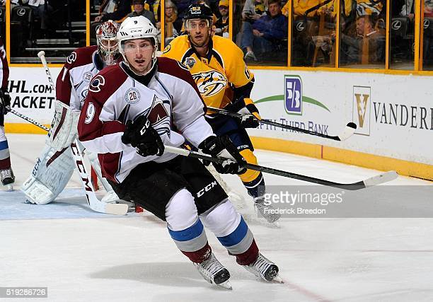 Matt Duchene of the Colorado Avalanche skates against Mike Ribiero of the Nashville Predators during the first period at Bridgestone Arena on April 5...