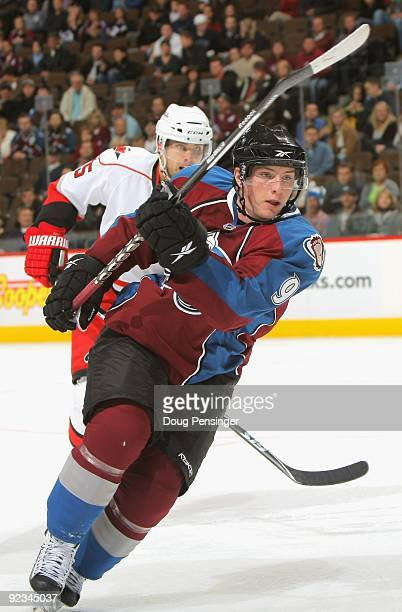 Matt Duchene of the Colorado Avalanche skates against the Carolina Hurricanes during NHL action at the Pepsi Center on October 23 2009 in Denver...