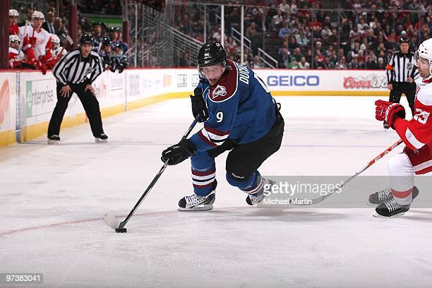 Matt Duchene of the Colorado Avalanche skates against the Detroit Red Wings at the Pepsi Center on March 1 2010 in Denver Colorado Detroit beat...