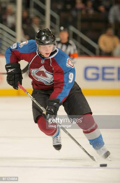 Matt Duchene of the Colorado Avalanche skates against the Los Angeles Kings during preseason NHL action at the Pepsi Center on September 23 2009 in...