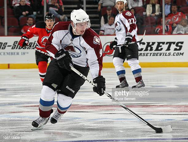 Matt Duchene of the Colorado Avalanche skates against the New Jersey Devils at the Prudential Center on October 15 2010 in Newark New Jersey