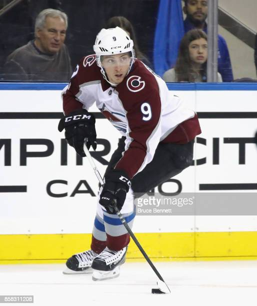 Matt Duchene of the Colorado Avalanche skates against the New York Rangers at Madison Square Garden on October 5 2017 in New York City The Avalanche...
