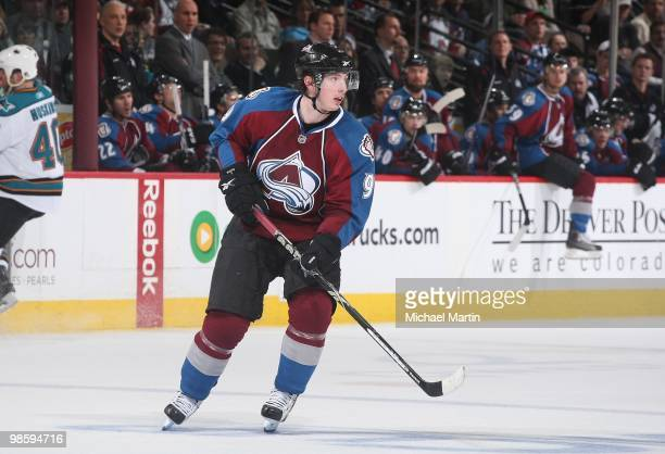 Matt Duchene of the Colorado Avalanche skates against the San Jose Sharks in game Four of the Western Conference Quarterfinals during the 2010 NHL...