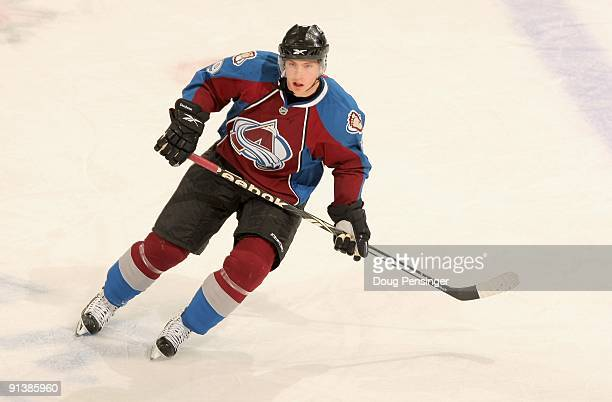Matt Duchene of the Colorado Avalanche skates against the Vancouver Canucks during NHL action at the Pepsi Center on October 3 2009 in Denver...