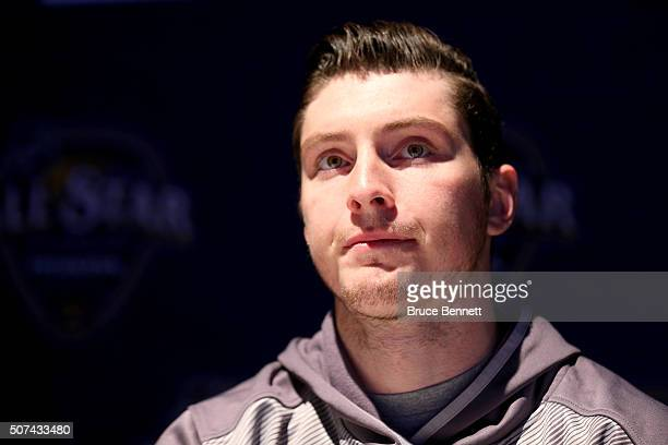 Matt Duchene of the Colorado Avalanche speaks during Media Day for the 2016 NHL AllStar Game at Bridgestone Arena on January 29 2016 in Nashville...