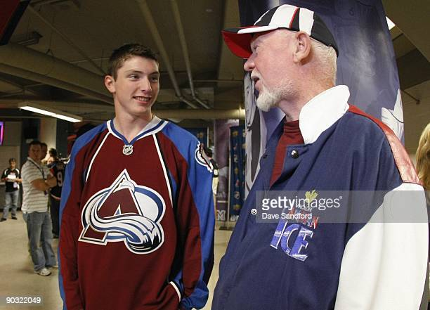 Matt Duchene of the Colorado Avalanche talks with hockey commentator Don Cherry during the Upper Deck NHL Rookie Debut on August 26 2009 at the...