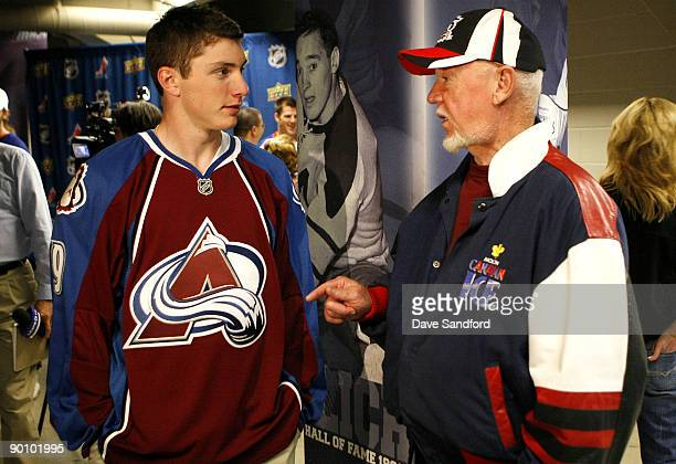 Matt Duchene of the Colorado Avalanche talks with ice hockey commentator Don Cherry during the Upper Deck NHL Rookie Debut at the Hershey Centre...