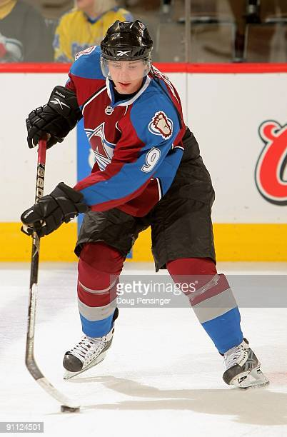 Matt Duchene of the Colorado Avalanche warms up prior to facing the Los Angeles Kings during preseason NHL action at the Pepsi Center on September 23...