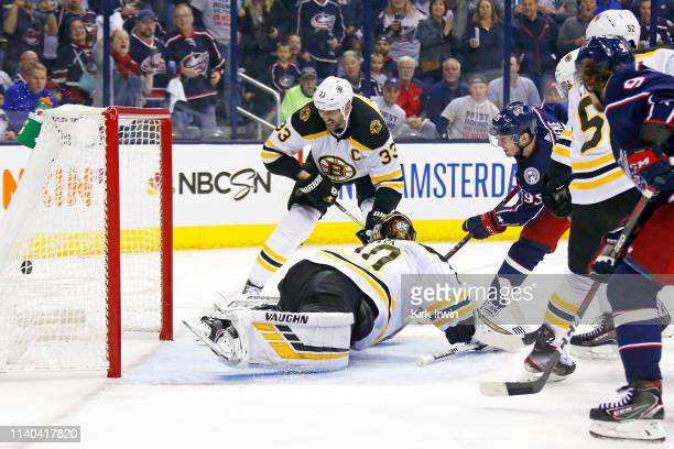 Matt Duchene of the Columbus Blue Jackets beats Tuukka Rask of the Boston Bruins for a goal during the second period in Game Three of the Eastern...