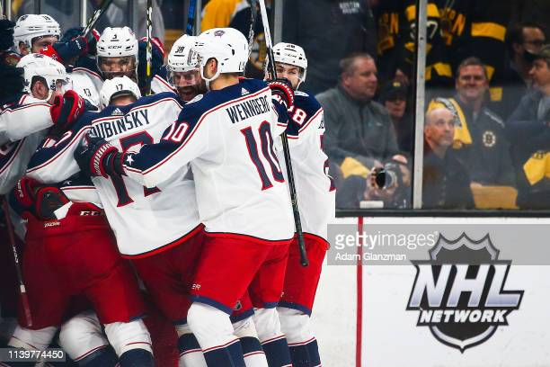 Matt Duchene of the Columbus Blue Jackets celebrates after scoring a goal in the second overtime in Game Two of the Eastern Conference Second Round...