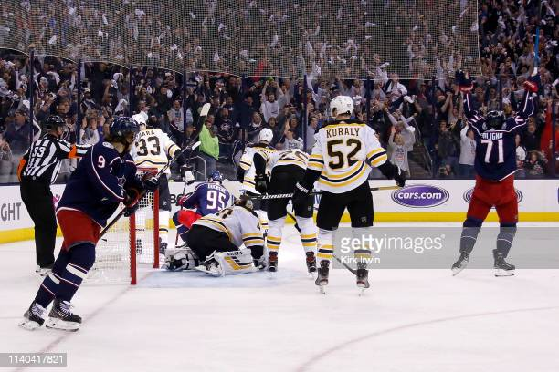 Matt Duchene of the Columbus Blue Jackets celebrates after scoring a goal against the Boston Bruins during the second period in Game Three of the...