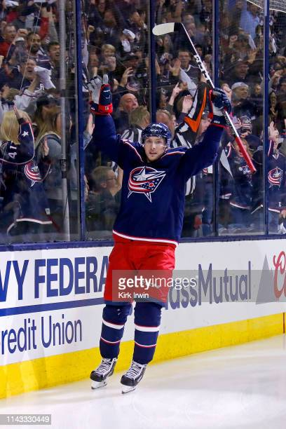 Matt Duchene of the Columbus Blue Jackets celebrates after scoring a goal in Game Three of the Eastern Conference First Round during the 2019 NHL...