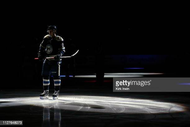 Matt Duchene of the Columbus Blue Jackets is spotlit during starting line up announcements prior to the start of the game against the Pittsburgh...