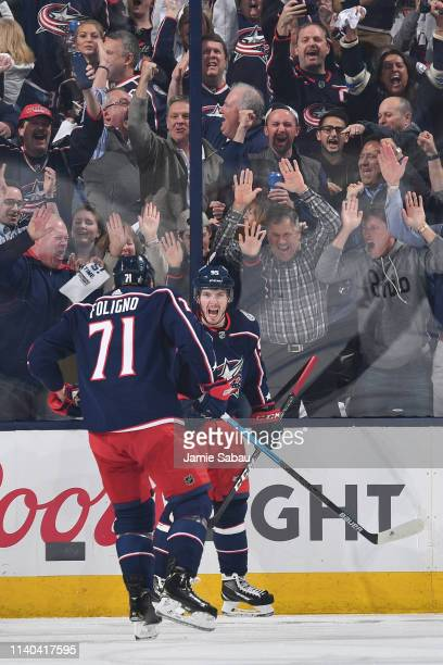 Matt Duchene of the Columbus Blue Jackets reacts after scoring a goal during the second period in Game Three of the Eastern Conference Second Round...