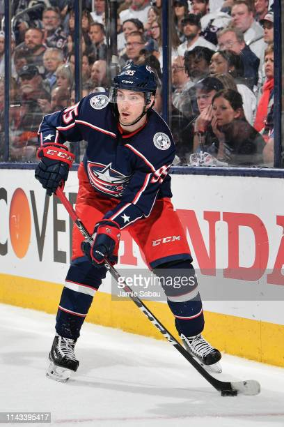 Matt Duchene of the Columbus Blue Jackets skates against the Tampa Bay Lightning in Game Four of the Eastern Conference First Round during the 2019...