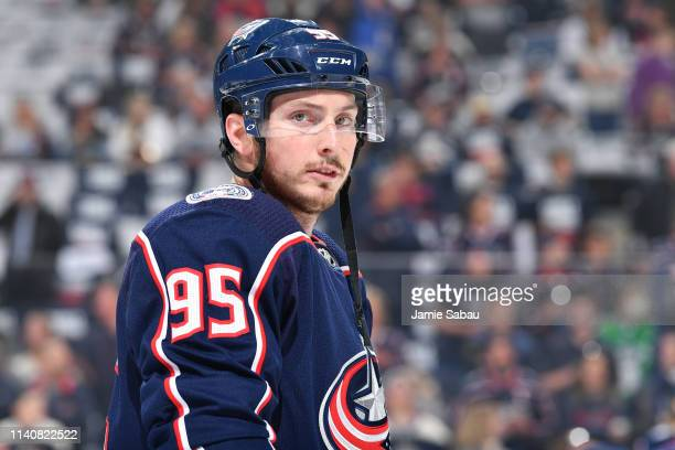 Matt Duchene of the Columbus Blue Jackets warms up prior to Game Four of the Eastern Conference Second Round against the Boston Bruins during the...