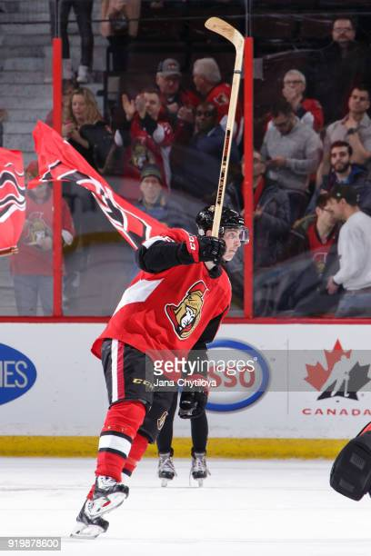 Matt Duchene of the Ottawa Senators acknowledges the fans as he is named third star following a game against the Buffalo Sabres at Canadian Tire...