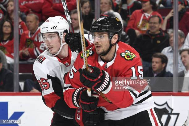 Matt Duchene of the Ottawa Senators and Artem Anisimov of the Chicago Blackhawks watch for the puck in the first period at the United Center on...
