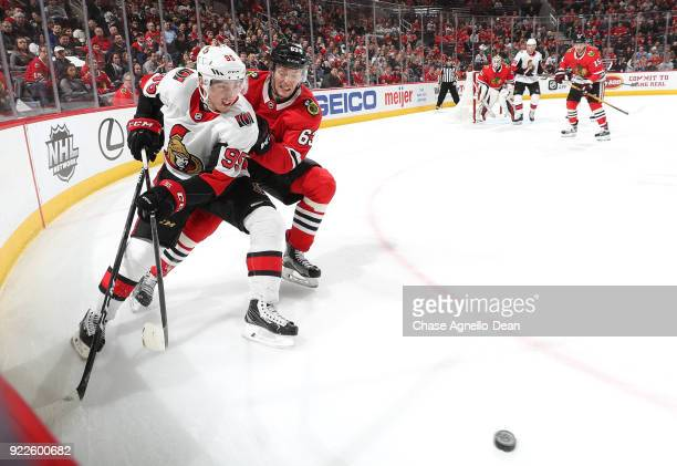 Matt Duchene of the Ottawa Senators and Carl Dahlstrom of the Chicago Blackhawks chase the puck in the third period at the United Center on February...