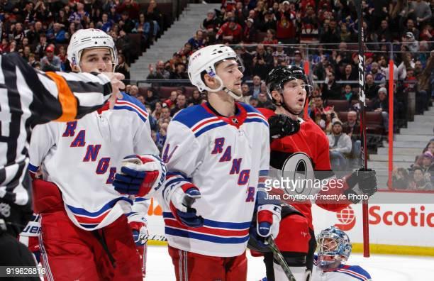 Matt Duchene of the Ottawa Senators celebrates his second period goal as Brady Skjei and Neal Pionk the New York Rangers react at Canadian Tire...