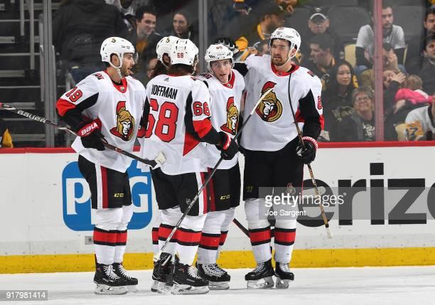 Matt Duchene of the Ottawa Senators celebrates his third period goal against the Pittsburgh Penguins at PPG Paints Arena on February 13 2018 in...