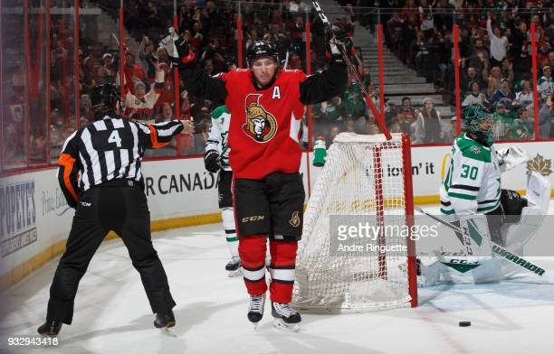 Matt Duchene of the Ottawa Senators celebrates his third period goal against Ben Bishop of the Dallas Stars at Canadian Tire Centre on March 16 2018...