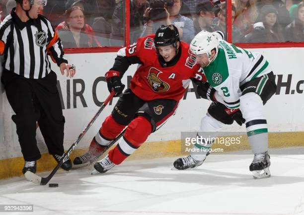 Matt Duchene of the Ottawa Senators controls the puck against Dan Hamhuis of the Dallas Stars at Canadian Tire Centre on March 16 2018 in Ottawa...