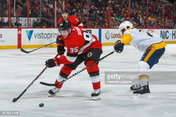 Matt Duchene of the Ottawa Senators controls the puck against PK Subban of the Nashville Predators at Canadian Tire Centre on February 9 2018 in...