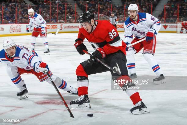 Matt Duchene of the Ottawa Senators controls the puck against Tony DeAngelo of New York Rangers at Canadian Tire Centre on February 18 2018 in Ottawa...