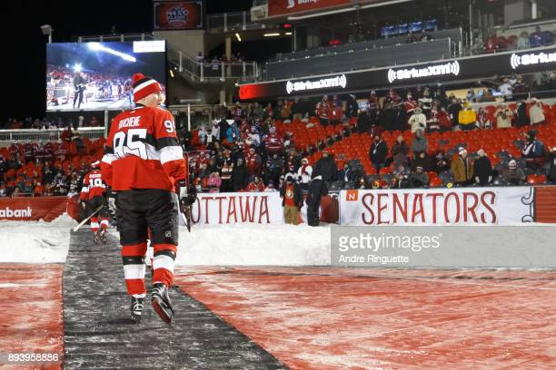 Matt Duchene of the Ottawa Senators leaves the ice after warmup prior to the 2017 Scotiabank NHL100 Classic against the Montreal Canadiens at...