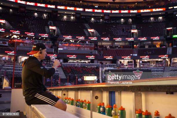 Matt Duchene of the Ottawa Senators looks on from the bench listening to music prior to a game against the New York Rangers at Canadian Tire Centre...