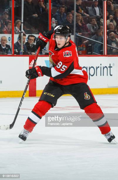 Matt Duchene of the Ottawa Senators passes the puck against the New Jersey Devils at Canadian Tire Centre on February 7 2018 in Ottawa Ontario Canada
