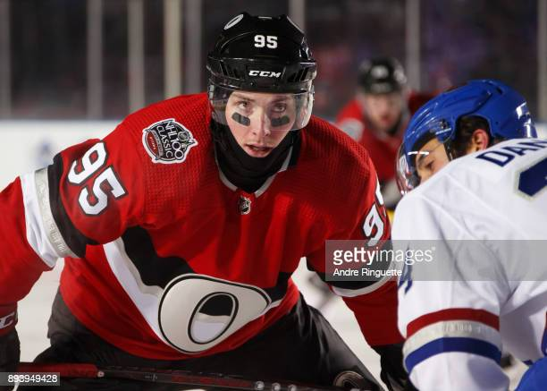 Matt Duchene of the Ottawa Senators prepares for a faceoff against Phillip Danault of the Montreal Canadiens during the first period of the 2017...