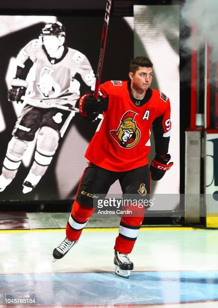 Matt Duchene of the Ottawa Senators salutes the crowd ahead of a game against the Chicago Blackhawks at Canadian Tire Centre on October 4 2018 in...