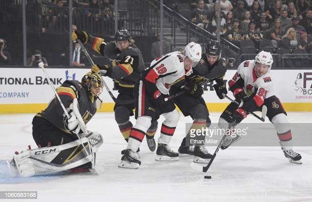 Matt Duchene of the Ottawa Senators scores a firstperiod goal against MarcAndre Fleury of the Vegas Golden Knights as William Karlsson of the Golden...
